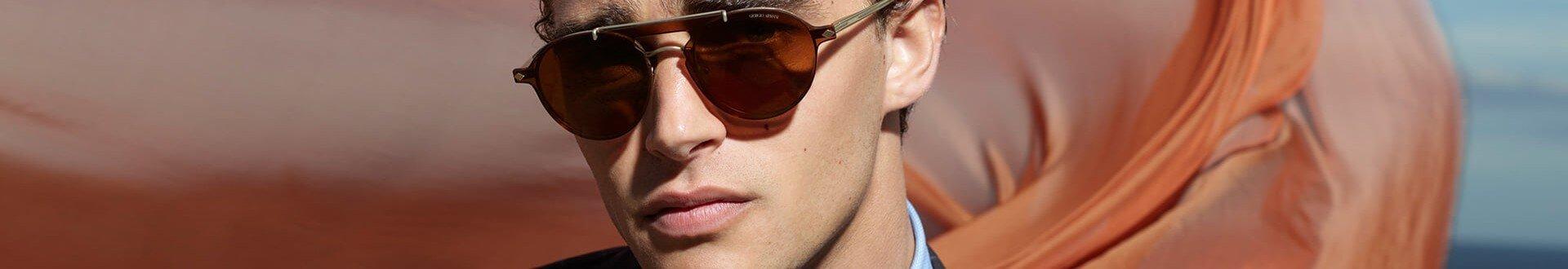 Óculos de sol Giorgio Armani masculino, no formato aviador com lentes marrons