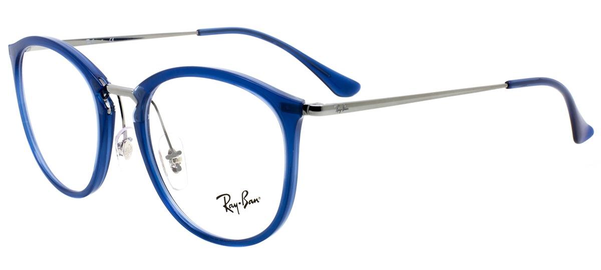 2327be4a0 Imagem Óculos Receituário Ray Ban Round 7140 5752. Cor Da Armação. azul /  prata